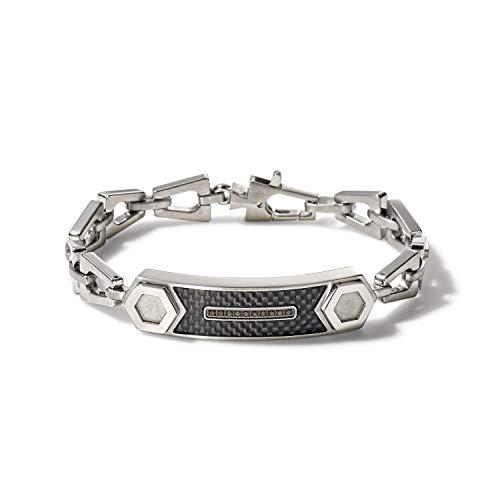 Bulova Mens Precisionist Stainless Steel Tuning Fork Chain Link ID Bracelet, Black Diamond Accent (Model J96B001M), Silver-Tone, Medium