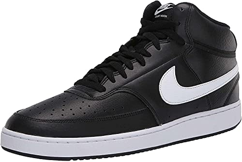 Nike Court Vision Mid, Zapatos de Baloncesto Hombre, Multicolor (Black/White 001), 44.5 EU