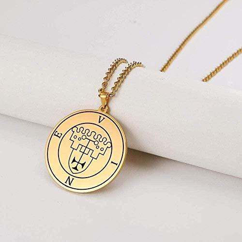 LBBYMX Co.,ltd Collar pequeño Vintage Solomon Key Collar Hombres Great King Vine Kabbale Amuleto Protección Religión Colgante Redondo Joyería