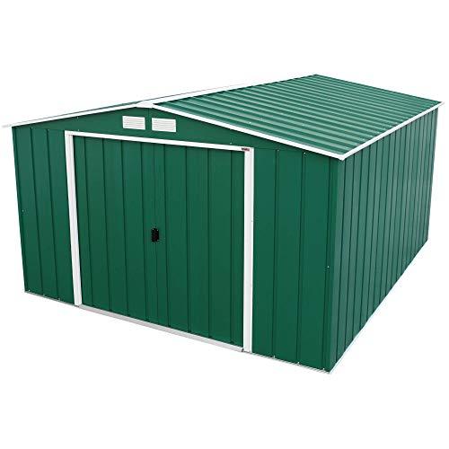 BillyOh 10x12 Partner Metal Outdoor Shed, Double Door Apex Galvanised Steel Storage, Green