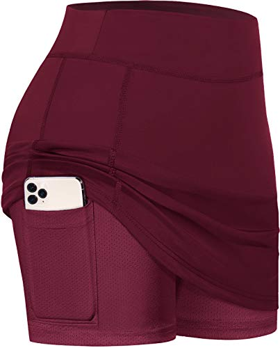 BLEVONH Skirts for Girls,Double Layered Active Skort Ladies Light Weight Golf Skirt and Skorts with Fitness Shorts Women Flexible Waist Flattering Tennis Clothes Wine XS
