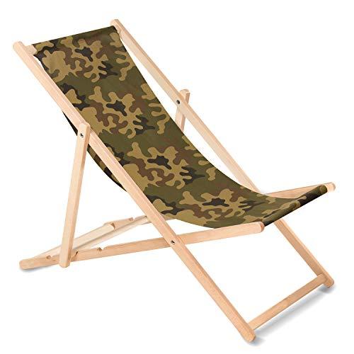 Green Blue Liegestuhl Sonnenliege Klappbar aus Buchholz ohne Armlehne Sonnenliege Gartenliege Liege (Camo grün)