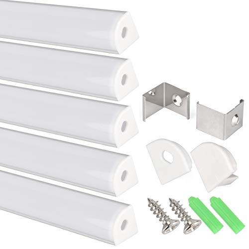 Perfil en V de aluminio para tira LED, Pack de 5 canaletas de 1 metro para LED con cubierta/tapa blanca translucida protectora. Incluido todo necesario para montaje. (PLATA 001)