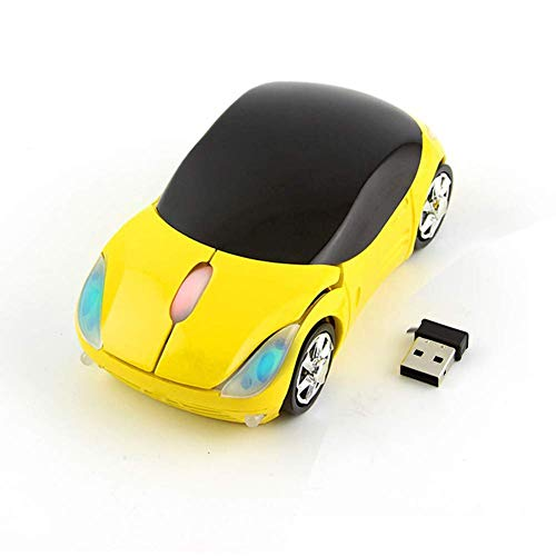 Colorful 3D Sport Car Shape Mouse 2.4GHz Wireless Mouse 1600DPI 3 Buttons Optical Ergonomic Gaming Mice with USB Receiver for PC Laptop Computer (Yellow)
