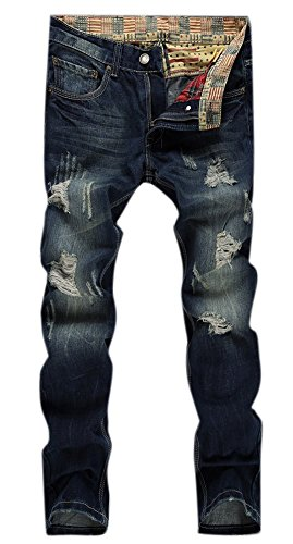 Men's Casual Broken Hole Distressed Ripped Skinny Jeans Dark Blue W32