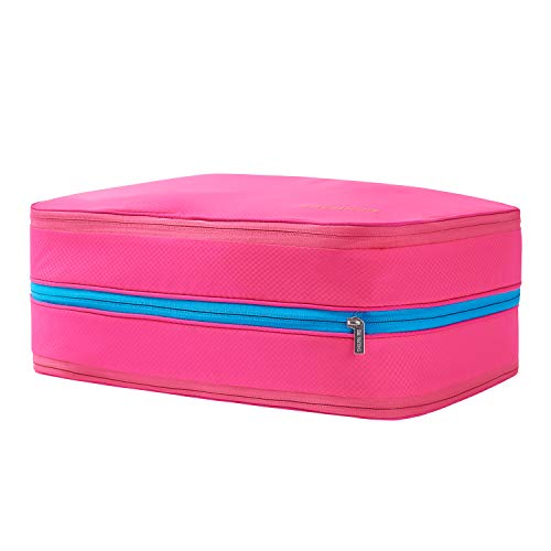BeeNesting 2 Layers Large Compression Packing Cubes for travel carry on Compressable Packing Bags for clothes 26L/Pink