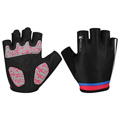 ZWYY Halb Finger-Handschuhe, Radfahrer-Atemschutzhandschuhe für Wearable Shockproof Bike Handschuhe im Freien,C,L