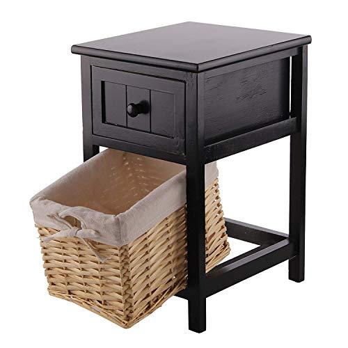 GXCGT Nachtkastje, nachtkastje, houten kast met mandje, shabby chic, ladenkast, opbergkast, decoratie voor woonkamer