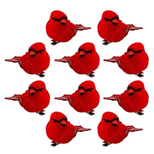 lefeindgdi Adornos de cardenales rojos, hechos a mano, diseño de pájaros artificiales en árbol de Navidad para coronas de árbol de Navidad, guirnaldas, 10 unidades