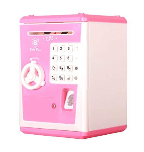 Rakumi Kids Code Electronic Piggy Bank, ATM Piggy Bank with Fingerprint Password Lock and Smart Voice Prompt, Paper Auto Scroll-in Kids Safe Bank, Fun Saving Piggy Bank Toy Gift for Boys Girls, Pink
