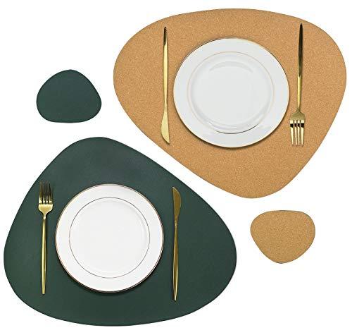 Olrla Set de Table et Dessous de Verre Double Face en liège Naturel et Cuir PU, 2 Tapis de Table et 2 sous-Verres pour Le dîner à Domicile (Vert foncé + liège)