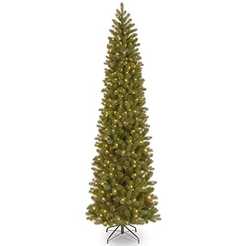 National Tree Company 'Feel Real lit Artificial Christmas Tree Includes Pre-strung Multi-Color LED Lights and Stand, Downswept Douglas Fir Pencil Slim - 7.5 ft