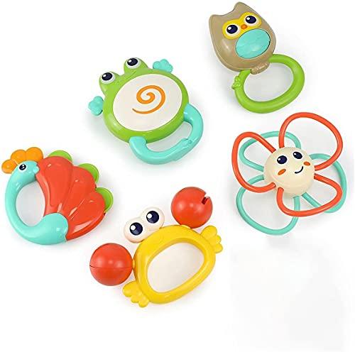 GLOBAL IGO. Baby-Rassel Greiflinge 0-6 Monate, 5 PC-Baby-Newborn Sinnes Spielzeug, Grab Shake and Spin Rattles Beißring Spielzeug-Set, Säuglings-Baby-Mädchen-Jungen-Geschenke 0 3 6 9 12 Monate alten m