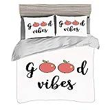 Funda nórdica Super King Size (260 x 220cm) con 2 fundas de almohada Buenas vibraciones Juegos de cama de microfibra Manzanas lindas Dibujos animados Frutas Sé saludable Vegana Come limpio Tema Dieta