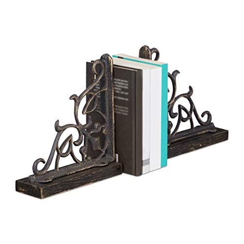 Relaxdays Buchstützen Antik aus Gusseisen