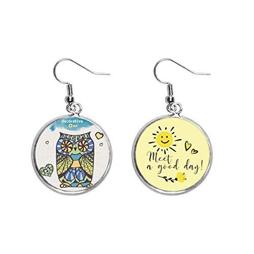 Pendientes decorativos con diseño de búho de amor y decoración para el oído, diseño de flores, moda