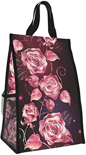 Bolsa de almuerzo plegable, bolso de picnic de gran capacidad portátil con aislamiento de flores para viajes de oficina de trabajo