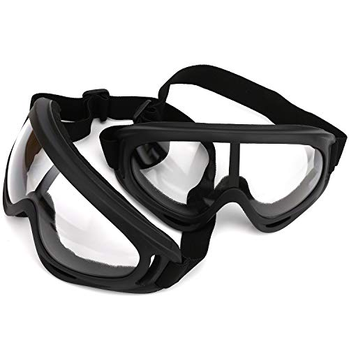LJDJ Safety Goggles - Pack of 2 - Glasses Adjustable Outdoor Sports Dust-Proof Protection Eyewear Perfect for Foam Game Gun and Blaster (Black + Black)