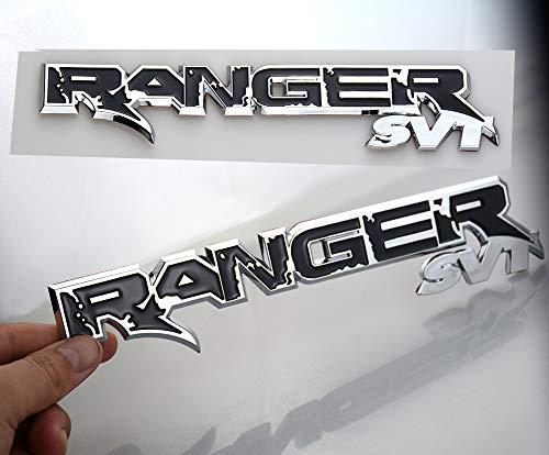 Two Pack RANGER SVT Emblem Tailgate Badge 3D Logo Nameplate Replacement for F150 (Chrome Black)