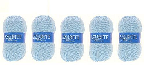 Lot 5 Pelotes de laine Azurite 100% Acrylique Tricot Crochet Tricoter - Bleu - 3036