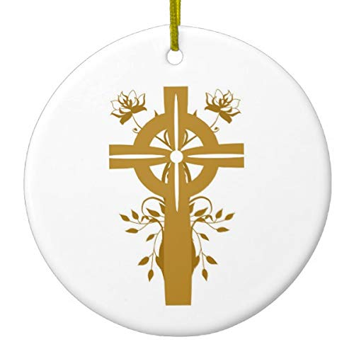 Lplpol Golden Cross First Holy Communion Xmas Trees Home Ceramic Ornaments Porcelain Ornament Personalize Favor