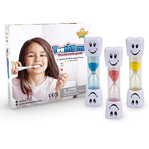 2 Minutes Hourglass Brushing Teeth Timers, Pack of 3, Fun Sand Counter - Easy to Use for Kids Boys and Girls - Promotes Proper Dental - Stocking Stuffers