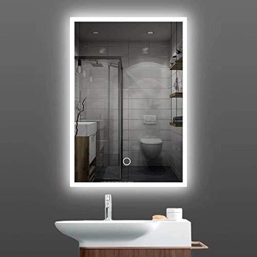 Badspiegel LED-beleuchteter Badezimmerspiegel-50x 70cm beleuchteter Badezimmerspiegel,Touch-Schalter-Steuerung mit Farbtemperaturübergang und Farbe Weiß / Warmweiß / Warmlicht