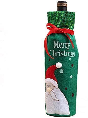 Bolsas para joyas Bolso de la botella de vino de Navidad de 12x30cm de 6pack con bolsa de regalo con cordón, santa muñeco de nieve Fiesta cubierta para decoración, muñeco de nieve ( Color : Santa )