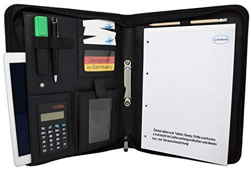 Schreibmappe K.DESIGNS A4 reines schwarz – Mappe ist aus hochwertigem imitiertem Leder - Ihr idealer Organizer mit Reissverschluss + Ringbuch zum Aufheben von Dokumenten – Perfekt als Konferenzmappe