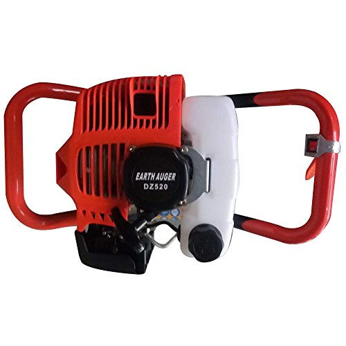 """Fence Earth Auger, Petrol Borer 52cc 2-stroke Post Hole Digger+Drill Bits 4"""" 6"""" 8"""" Bar Single Cylinder Air-Cooled System One Man Fence Earth Auger (US Stock) (2.3HP)"""