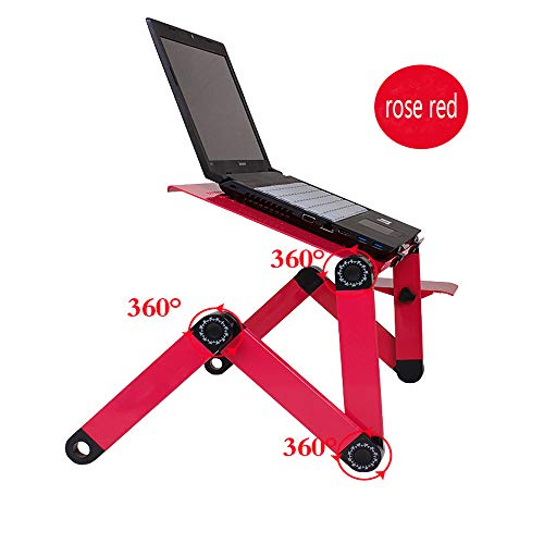 Laptop Desk for Bed and Couch, Portable Adjustable Laptop Stand with Big CPU Cooling Fan and Mouse Pad, Ergonomics Aluminum TV Bed Lap Tray up to 17in, Rose Red Photo #3