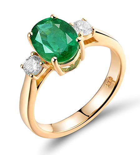 AtHomeShop Real Gold Collection, 18K Yellow Gold Rings, Proposal Rings with Sparkling Oval Emerald and Diamond Marriage Proposal Ring for New Year Gift, Polished gold