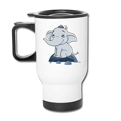 JUKIL Lustige Reisebecher mit Griff Doppelwandige Edelstahlbecher Cartoon Elephant Car Cup Isoliertes Vakuum für das beste wiederverwendbare Kaffeetassengeschenk Silber, 14 oz