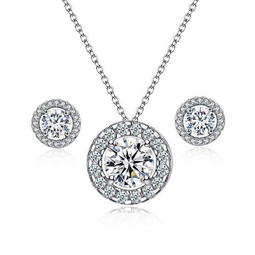 AAA + Traje de plata de ley 925 para mujer (collar + pendientes), fusión perfecta, engastado con diamantes brillantes, colgantes y pendientes exquisitos, aniversario de cumpleaños