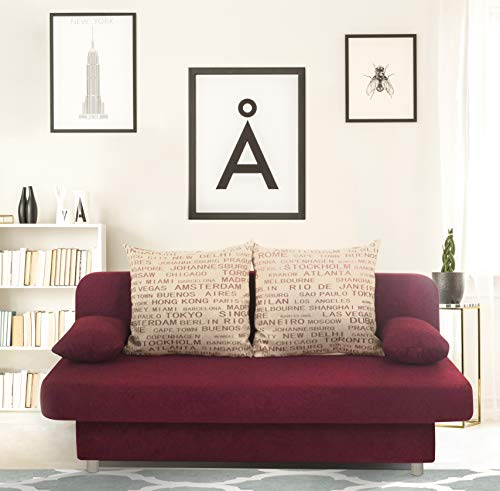 Collection AB Schlafsofa Orlando-PUR Mikrofaser Rot-Grau, 186x85 cm