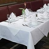 Damast Tischdecke weiß – 130 x 280 cm – bei 95°C waschbar - 2