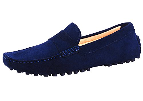 Santimon Mens Driving Penny Loafers Suede Leather Comfortable Casual Slip On Shoes Moccasins Navy Blue 9.5 US