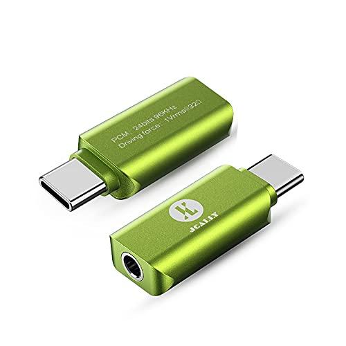 USB Typ C auf 3,5 mm Klinkenadapter, USB C Mini Portable Kopfhörer Adapter Digital Audio DAC Decoder Adapter für Huawei Xiaomi Oneplus (Grün)