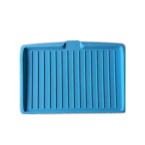 BANGSUN Estante de almacenamiento para vajilla de cocina de plástico escurridor bandeja grande de secado para fregadero organizador de almacenamiento azul