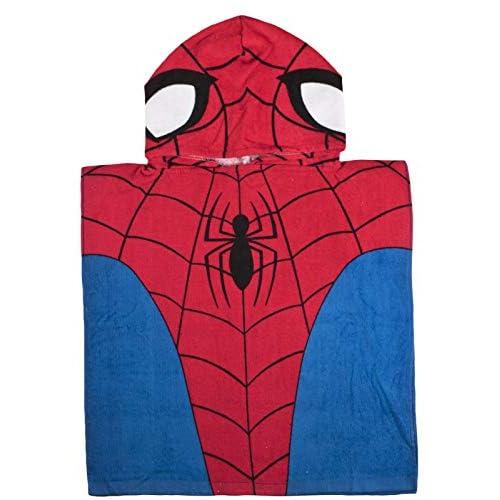 Marvel Spiderman Ragazzo con Cappuccio Asciugamano Poncho - Spiderman, One Size