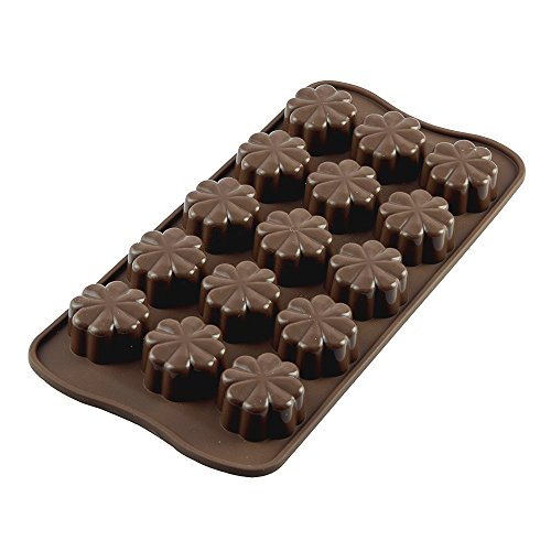 Moule en silicone chocolat forme de fleurs, Moule à pralines Moule à glaçons Moule en silicone pour 15 chocolats, Gelée, gâteaux et glaçons Marron
