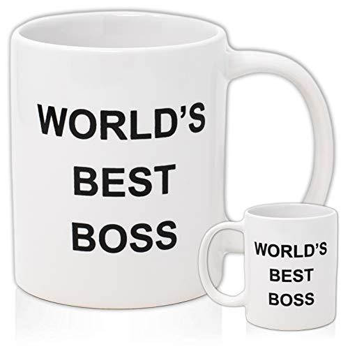 WORLD'S BEST BOSS Coffee Mug, Double Sided Imprint, 11 OZ Ceramic Mug For...