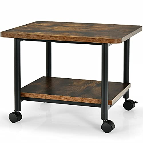 Multigot Printer Stand, Mobile Double Tiers Utility Wooden Organiser Unit Printer Rack, 2/3-Tier Under Desk Rolling Storage Shelving Cart for Home and Office (Brown, 49cm x 40cm x 37cm)