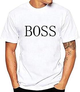 Tshirt 2019 Spring Round Neck Summer Printing Short Sleeve T-Shirt BOSS Printed Round Neck Loose Short-sleeved Men's T-shirt White T Shirts Men