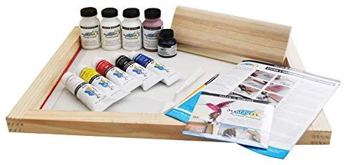 System 3 Daler Rowney Kit d'impression avec écran transparent, cadre en bois 41 x 55 cm, raclette 28,5 x 0,8 cm, 5 x 75 ml
