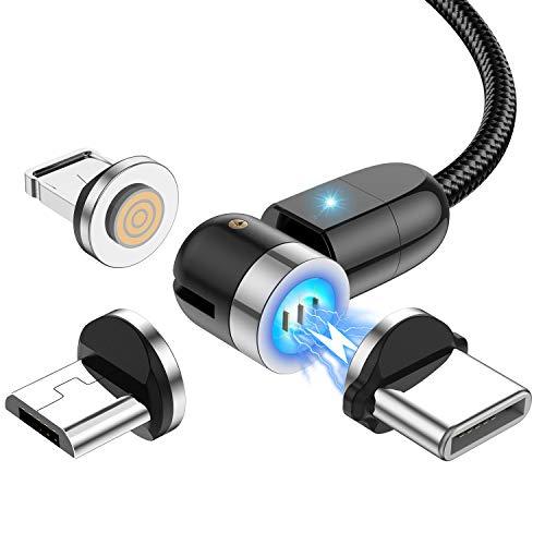 Cable de carga magnético de transferencia de datos de carga rápida 3A, cargador de teléfono magnético, nailon trenzado, compatible con tipo C, microUSB, dispositivos iOS (1 pie, 3 pies, 6 pies)