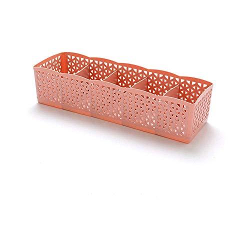 NBKing Home Hollow 5 Grids Storage Basket Box Drawer Organizer Underwear Socks Holder - Pink