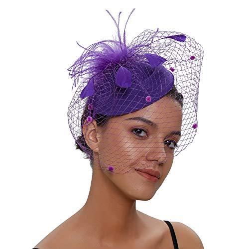 Zivyes Hochzeit Faszinator Hut 50er Jahre Mottoparty Accessories Halloween Kostüme Kopfschmuck (1-Lila)