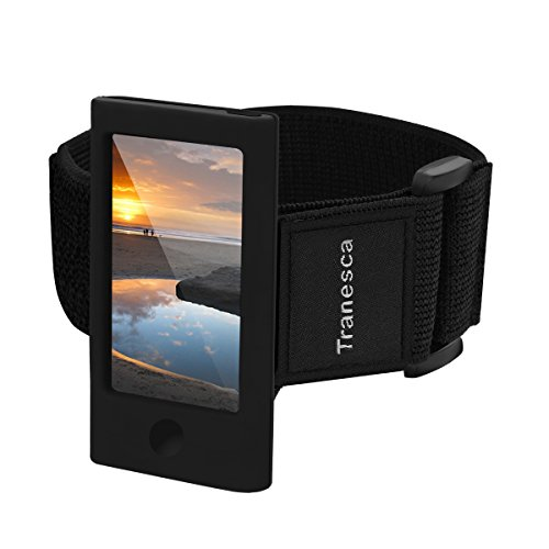 Tranesca iPod Nano 7th & 8th Generation Armband with Tempered Glass Screen Protector -Black (Perfect for Workout)
