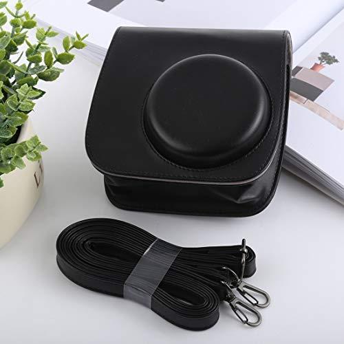 NO BRAND Bolsa de la cámara compacta Funda de Cuero Shi Ameng Estilo Retro de Cuerpo Completo de la cámara de la PU del Bolso con Correa for FUJIFILM instax Mini 9 / Mini-8 + / 8 Mini (Negro)